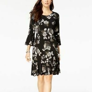 CONNECTED Womens Black Floral Embroidered A-Line D